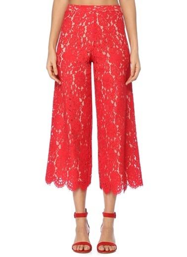 Alice+Olivia Dantelli Bol Paça Pantolon Kırmızı